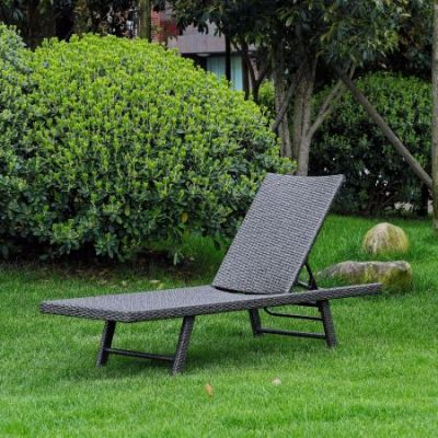 Barbados Resin Wicker Chaise Lounge in Antique Grey - YF-9035-CL-AGY
