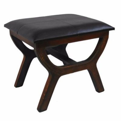 Faux Leather Rectangular Wood Stool in Dark Brown - YWLF-2138-DB