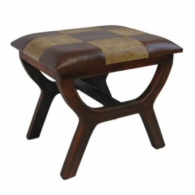 Faux Leather Rectangular Wood Stool in Mixed Patch Work - YWLF-2138-MX