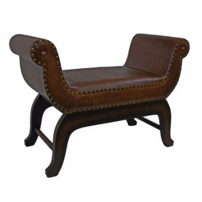Faux Leather Vanity Stool in Saddle Brown - YWLF-2326-BR