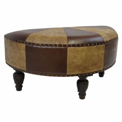 Faux Leather Half Moon Ottoman in Mixed Patch Work - YWLF-2333-MX