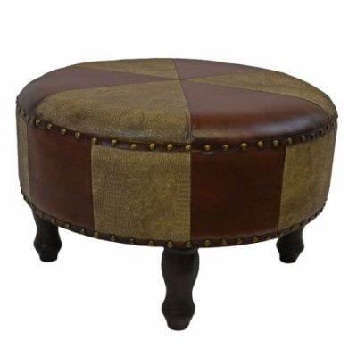 Large Round Faux Leather Stool in Mixed Patch Work - YWLF-2523-MX