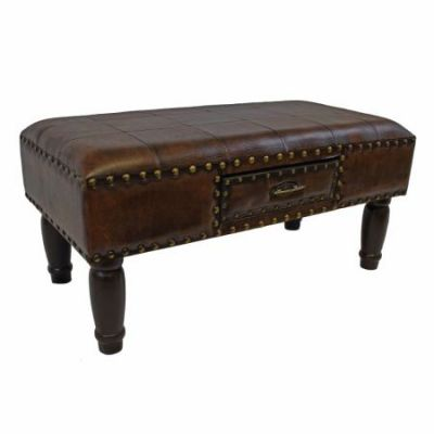 Medium One Drawer Faux Leather Bench in Saddle Brown - YWLF-2532-BR