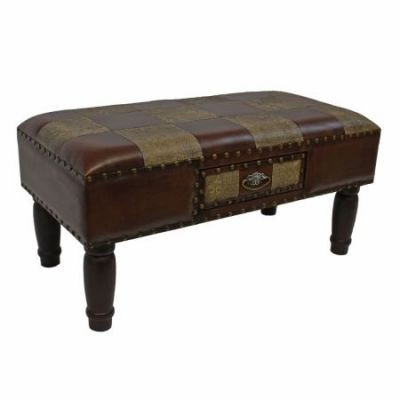 Medium One Drawer Faux Leather Bench in Mixed Patch Work - YWLF-2532-MX