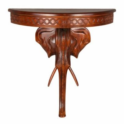 Windsor Carved Exotic Elephant Wall Table in Stain - ZM-3804-ST