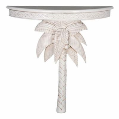 Windsor Carved Exotic Palm Tree Wall Table in Antique White - ZM-3805-AW