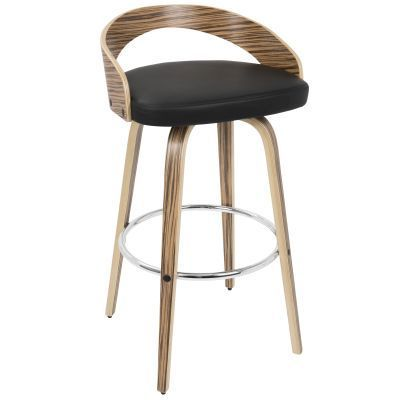 Grotto Barstool in Zebra and Black PU - BS-JY-GRT-ZB-BK
