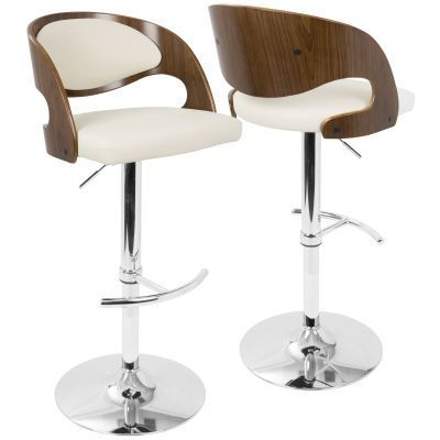 Pino Barstool with Swivel in Walnut and Cream - BS-JY-PN-WL-CR