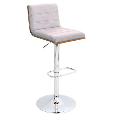 Vasari Barstool in Walnut Wood & Grey Fabric Seat - BS-JY-VSR-WL-GY