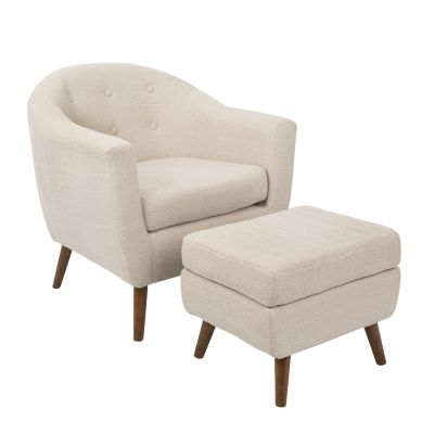 Rockwell Chair with Ottoman in Beige - C2-AH-RKWL-BG