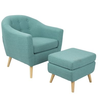 Rockwell Chair with Ottoman in Teal - C2-AH-RKWL-TL