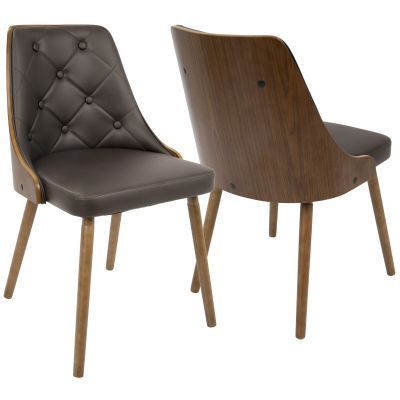 Gianna Dining Chair in Walnut and Brown - CH-JY-GNN-WL-BN