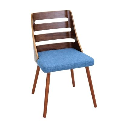 Trevi Chair in Blue & Walnut - CH-TRV-WL-BU