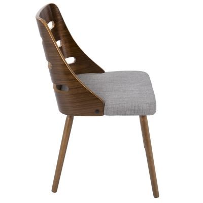 Trevi Chair in Grey Fabric & Walnut Wood - CH-TRV-WL-GY