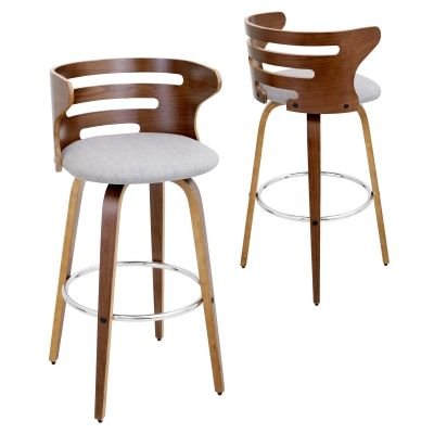 Cosini Counter Stool in Walnut & Grey - CS-COSNI-WL-GY