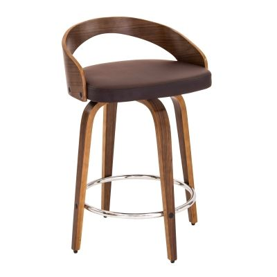 Grotto Counter Stool in Walnut Brown - CS-JY-GRT-WL-BN