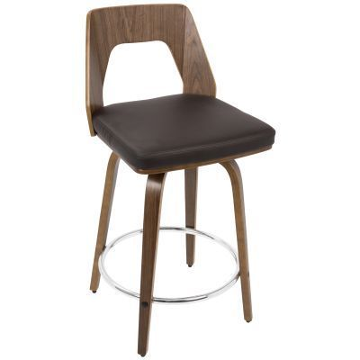 Trilogy Counter Stool in Walnut and Brown PU - CS-TRILO-WL-BN