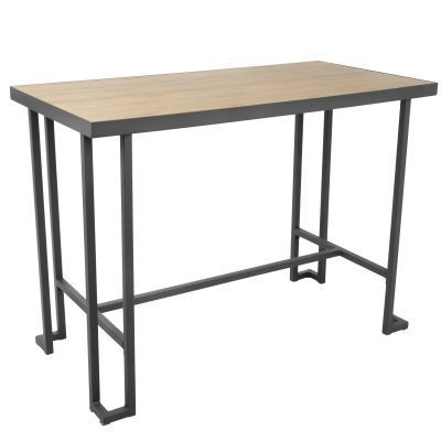 Roman Counter Table in Grey Metal and Natural - CT-RMN-GY-NA