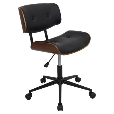 Lombardi Office Chair in Black & Walnut - OC-JY-LMB-WL-BK