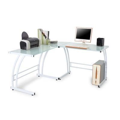 Gamma Desk in White Frame - OFD-TM-BITDBL-W