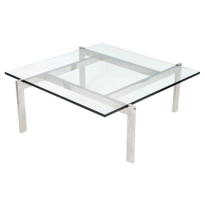 Cosmopolitan Coffee Table with Glass Top & White Legs - TB-COSMO