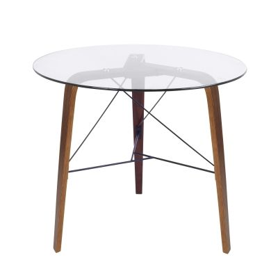 Trilogy Table in Walnut Frame & Clear Glass - TB-TRILO-WL