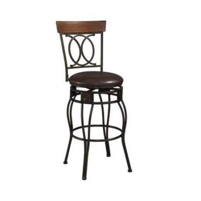 Salina 30'' Bar Stool with Swivel in Black - 02565MTL-01-KD-U