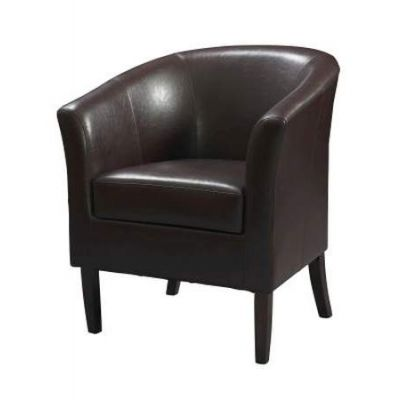 SIMON Faux Leather CLUB CHAIR in BLACKBERRY - 36077BER-01-AS-U