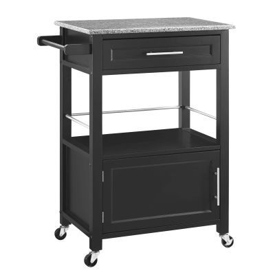 Mitchell Black Kitchen Cart With Granite Top - 464808BLK01U
