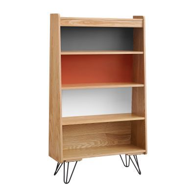 Perry Bookcase with Charcoal, Orange and White Shelf Finish - 650245ASH01U