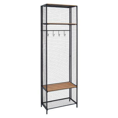 Grid Metal and Wood Locker Coat Rack - AHW805AS1