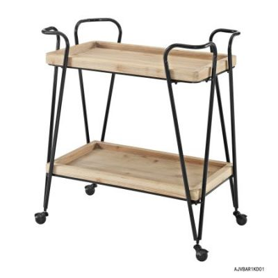 Mid Century Bar Cart in Matte Black - AJUBAR1KD01