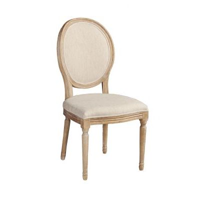 Manchester Linen Oval Back Dining Chair in Light Brown - W03480L
