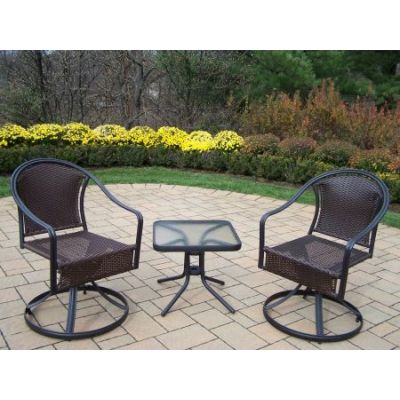 Tuscany 3-Piece Outdoor Swivel Set in Black - 10008ET-90079S2-3-BK