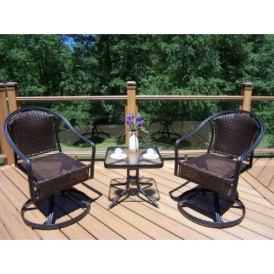 Tuscany 3-Piece Outdoor Swivel Set in Coffee - 10008ET-90079S2-3-CF