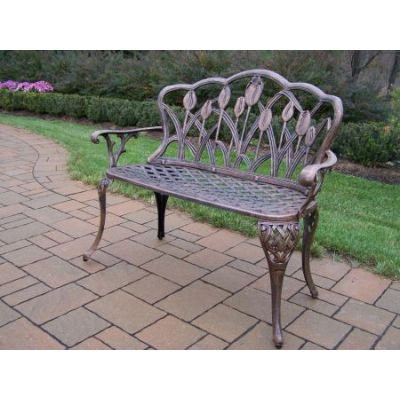 Tulip Cast Aluminum Loveseat Bench in Antique Bronze - 1006-AB