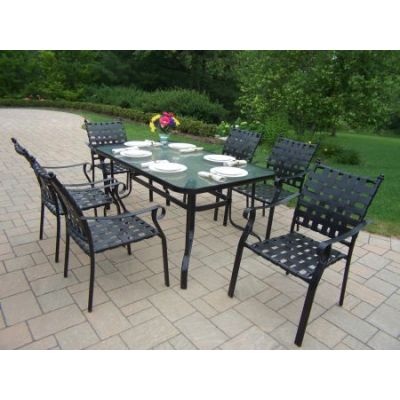 Web 7 Piece Dining Set in Black - 10188-7-BK