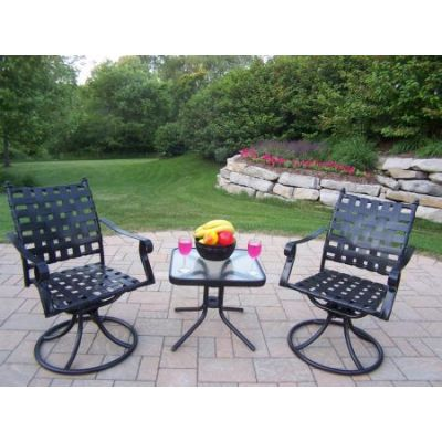 Web 3 Piece Swivel Chat Set with Side Table in Black - 10188-S3-BK