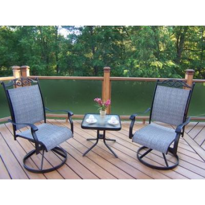 Cascade 3 Piece Swivel Chat Set with Two Rockers - 10605-S2ET1-3-BK