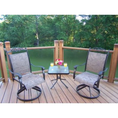 Cascade 3 Piece Swivel Chat Set with Two Rockers - 10605-S2ET1-3-CF