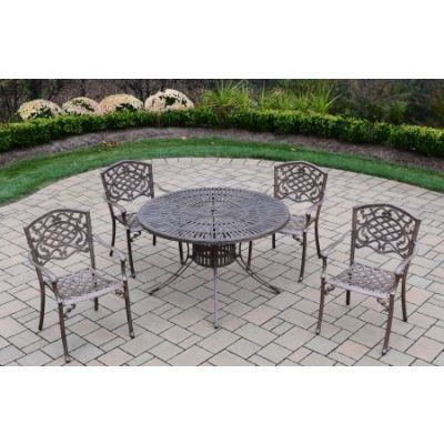 Sunray Mississippi 5 Piece Dining Set with Cushions - 1118T-2120C4-5-AB