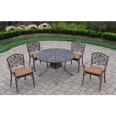 Sunray Mississippi 5 Piece Dining Set with Cushions - 1118T-2120C4-D54-9-AB