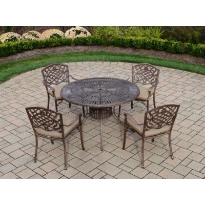 Sunray Mississippi 5 Piece Dining Set with Cushions - 1118T-2120C4-D56-9-AB