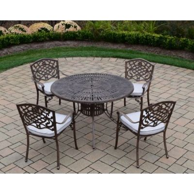 Sunray Mississippi 5 Piece Dining Set with Cushions - 1118T-2120C4-OM-9-AB