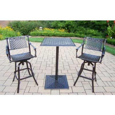 Rose Cast Metal 3 Piece Bar Set - 3021BT-3022BS2-3-AB