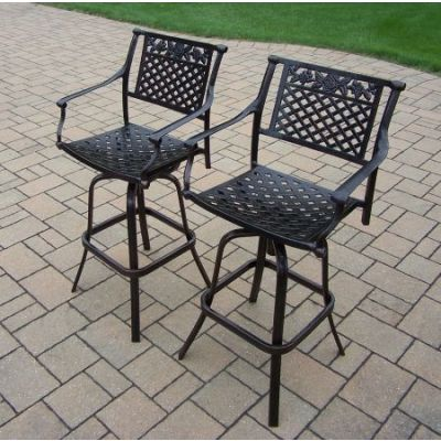 Rose Cast Aluminum Pair of Swivel Bar Stools (Pack of 2) - 3022-BS2-AB