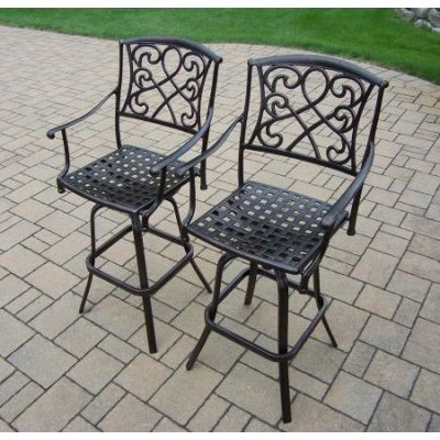 Grace Cast Aluminum Swivel Bar Stools (Pack of 2) - 3024-BS2-AB