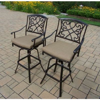 Grace Cast Aluminum Cushioned Swivel Bar Stools (Pack of 2) - 3024-BS2-D56-4-AB