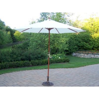 9 Ft Umbrella with Crank and Stand - 4001-WT-4101-2-AB