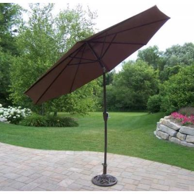 9 Foot Tilting & Cranking Umbrella and Stand - 4005-BN-4101-2-AB